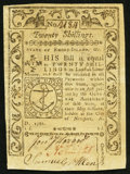 Colonial Notes:Rhode Island, Rhode Island May 1786 20s Extremely Fine.. ...