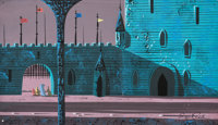 Eyvind Earle Sleeping Beauty Prince Return of Briar Rose Background Color Key/Concept Painting (Walt Disney, 1959)