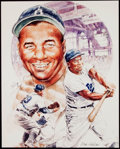 Autographs:Others, Roy Campanella Signed Original Artwork Print by Mike Petronella....