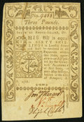 Colonial Notes:Rhode Island, Rhode Island May 1786 £3 Choice About New.. ...