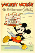 "Movie Posters:Animation, Mickey Mouse in His 8th Birthday Celebration (United Artists,1936). Silkscreen Poster (40"" X 60"").. ..."