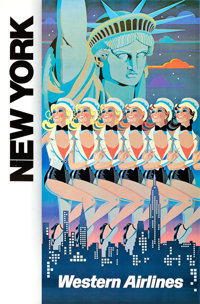 "Western Airlines: New York (c. 1970s). Full-Bleed Travel Poster (24.25"" X 36.25"") Elles Cas Artwork"