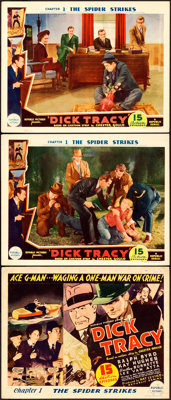 """Dick Tracy (Republic, 1937). Title Lobby Card & Lobby Card (2) (11"""" X 14"""") Chapter 1 -- """"The Spid..."""