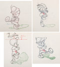 "Animation Art:Production Drawing, Pinocchio ""No Strings"" Russian Dance Animation DrawingSequence of 4 (Walt Disney, 1940).... (Total: 4 Items)"
