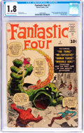 Silver Age (1956-1969):Superhero, Fantastic Four #1 (Marvel, 1961) CGC GD- 1.8 Cream to off-white pages....