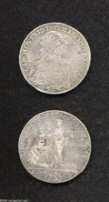 German Lots: , German Lots: A pair of 18th Century Talers as follows: Baden 1765 S W, Dav-1933, KM108, F-VF; and a Nurnberg 1765 SS-GNR, Dav-2490, KM347... (Total: 2 Coins Item)