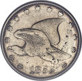 1855 E1C Flying Eagle Cent, Judd-171, Pollock-196, Low R.7 -- Damage -- PCGS Genuine. AU Details....(PCGS# 11736)
