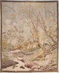 Asian:Japanese, A Large Japanese Embroidered Silk Tapestry Depicting Deer in aForest, late Edo-Meiji Period. 97 inches high x 87-1/2 inches...
