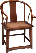 Asian:Chinese, A Chinese Hardwood Horseshoe Armchair, Qing Dynasty. 39-1/4 h x24-3/4 w x 22 d inches (99.7 x 62.9 x 55.9 cm). ...