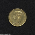 Italian States:Napoleonic Italy, Italian States: Kingdom of Napoleon. Gold 40 Lire 1814-M, KM12, VF,small rim bruise on the reverse. 1/0 in date. From the Dr. KurtPeters C...