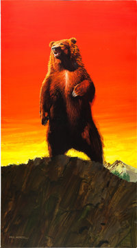 "King of the Grizzlies by Paul Wenzel (Buena Vista, 1970). Signed Original Acrylic Poster Artwork (18.5"" X 33.25&quo..."