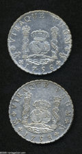 Mexico: , Mexico: Ferdinand VI Pillar 8 Reales - Pair, KM104.2, 1756-MM,lustrous AXF, very lightly cleaned, and 1758-MM, VF-XF, cleaned andm... (Total: 2 coins Item)