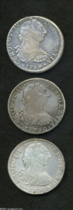 Mexico: , Mexico: Carlos IV 8 Reales - Transitional Trio, KM107, 1789 AXF,lightly cleaned and now toning, scarce, and (2) 1790-FM, VG-F andF... (Total: 3 coins Item)