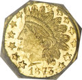 California Fractional Gold, 1873 25C Indian Octagonal 25 Cents, BG-793, R.5, MS63 ProoflikeNGC. CAC....