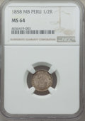 Peru:South Peru, Peru: South Peru. Republic 1/2 Real 1858-MB MS64 NGC,...