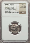 Ancients:Greek, Ancients: MOESIA. Istrus. Ca. 4th century BC. AR drachm (5.25 gm).NGC VF 5/5 - 4/5....