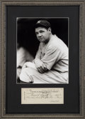 Baseball Collectibles:Others, 1935 Babe Ruth Signed Check Display. ...