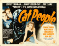"Movie Posters:Horror, Cat People (RKO, R-1952). Half Sheet (22"" X 28"") Style A, William Rose Artwork.. ..."