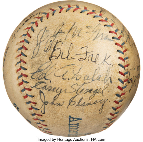 Baseball Collectibles:Balls, 1924 World Tour Baseball Signed by Chicago White Sox & New York Giants Teams from Muddy Ruel's House....