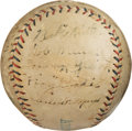 Baseball Collectibles:Balls, 1920 New York Yankees Team Signed Baseball from Muddy Ruel's House--Only Known Example!...