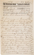 Military & Patriotic:Indian Wars, The Terry Telegram, Second Day June 28, 1876....