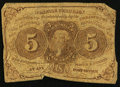 Fractional Currency, Inverted Back Error Fr. 1230 5¢ First Issue Good.. ...