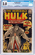 Silver Age (1956-1969):Superhero, The Incredible Hulk #1 (Marvel, 1962) CGC GD 2.0 Off-white to whitepages....