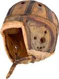 Football Collectibles:Helmets, Early 1930's Leather Helmet Attributed to Green Bay Packers Arnie Herber (Signed by Tony Canadeo)....