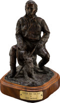 Antiques:Decorative Americana, Glenwood Swanson, Bronze Custer with his Dog....