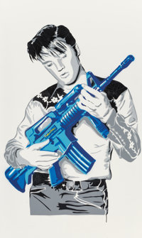 Mr. Brainwash (French, b. 1966) Don't Be Cruel (Blue), 2007 Spray paint on canvas 60 x 36 inches