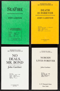 """John Gardner Lot (G.P Putman's Sons, 1980s-1990s). Uncorrected Proof Books (4) (Multiple Pages, 5.25"""" X 8.25"""")..."""