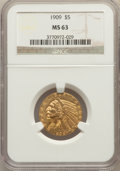 Indian Half Eagles: , 1909 $5 MS63 NGC. NGC Census: (863/450). PCGS Population:(953/555). MS63. Mintage 627,138. ...