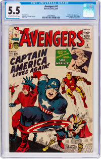 The Avengers #4 (Marvel, 1964) CGC FN- 5.5 Off-white to white pages