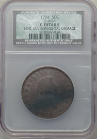 1794 50C O-105a, T-3, R.6 -- Bent, Environmental Damage -- NCS. Good Details....(PCGS# 39207)
