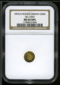 California Fractional Gold: , 1876/5 50C Indian Round 50 Cents, BG-1059, R.4, MS66 Deep MirrorProoflike NGC....