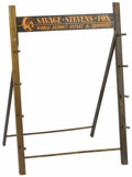 "Advertising:Signs, Point of Sale Gun Rack. A wooden gun rack measuring 20"" x 29"" forSavage, Stevens and Fox rifles and shotguns, with original..."