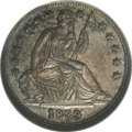 Seated Half Dimes: , 1839 H10C No Drapery MS66 NGC. The speckled amber-gold andiridescent electric-blue toning over both sides of this remarkab...