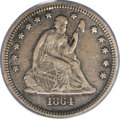 Seated Quarters: , 1864-S 25C VF30 PCGS. The 1864-S, with a mintage of just 20,000pieces, is a difficult coin to locate in any grade. Indeed,...