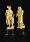 Decorative Arts, Continental:Other , Two Carved Ivory Figures on Bases: Siedfried and Erda. Max Schmehle(1855-1924), Geislingen, Germany. 1887. Ivory and ebo... (Total: 2)