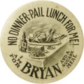 "Political:Pinback Buttons (1896-present), William Jennings Bryan: One of the Top Cartoon Button Designs forthis Popular Candidate. This 1¾"" design features a sumptuo..."