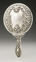 Silver Holloware, American:Mirrors and Vanity-related , An American Silver Hand Mirror. Adelphi Silver Co., New York, NY,Late Nineteenth Century. Script monogram to the reve...
