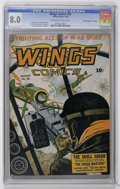 """Golden Age (1938-1955):War, Wings Comics #36 Davis Crippen pedigree (""""D"""" Copy) (Fiction House,1943) CGC VF 8.0 Off-white to white pages...."""