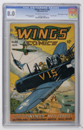 """Golden Age (1938-1955):War, Wings Comics #60 Davis Crippen pedigree (""""D"""" Copy) (Fiction House,1945) CGC VF 8.0 Off-white to white pages...."""