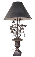 Decorative Arts, Continental, A Jose Thenee Argentinean Cast and Wrought Iron Table Lamp...