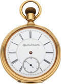 Timepieces:Pocket (post 1900), Elgin 21 Jewel 18k Gold Three-Finger Bridge Convertible. ...