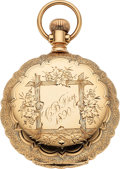 Timepieces:Pocket (pre 1900) , Waltham 14k Gold Model 72 Non-Magnetic Riverside Scalloped...