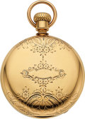 "Timepieces:Pocket (pre 1900) , Hampden Heavy 18k Gold 16 Size Signed ""George E. Fairbanks August 1881"". ..."
