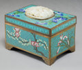 Asian:Chinese, A Chinese Cloisonné Table Box with Inset White Jade Plaque. 3-1/2 hx 4-1/2 w x 3-1/8 d inches (8.9 x 11.4 x 7.9 cm). ...