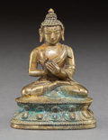 Asian:Chinese, A Tibetan Gilt Bronze Seated Shakyamuni Figure, 18th-19th century.3-3/8 inches high (8.6 cm). ...