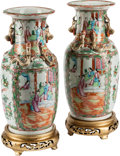 Ceramics & Porcelain, A Pair of Chinese Rose Medallion Export Porcelain Vases. 14 inches high (35.5 cm)... (Total: 4 Items)